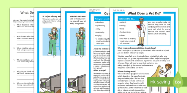 What does a vet do? Differentiated reading comprehension activity English/Polish - People Who Help Us, Vet, veterinarian, role, job, what does a vet do, responsibilities, duties, skil