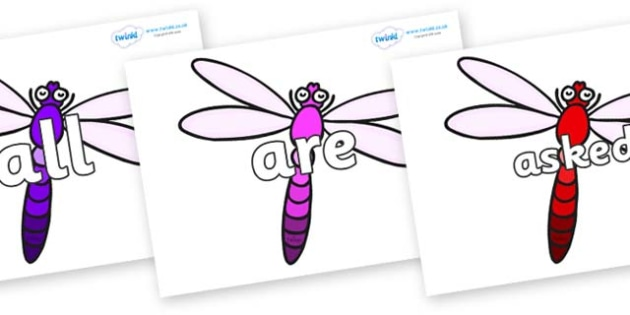 Tricky Words on Dragonflies - Tricky words, DfES Letters and Sounds, Letters and sounds, display, words