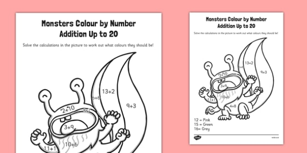 Monster Colour by Number Addition to 20 - monster, colour, number, addition, to 20, colour by number