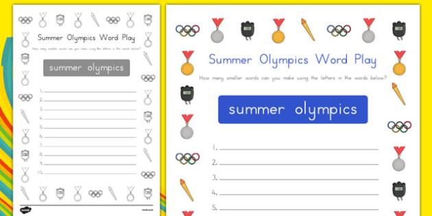 Summer Olympics Word Play Activity Sheet - usa, america, summer olympics, olympics, rio 2016, word play, activity, worksheet