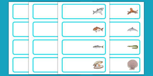 Under the Sea Editable Drawer, Peg, Name Labels