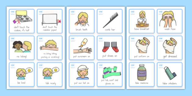 Special Needs Communication Cards Daily Routine Girl - cards