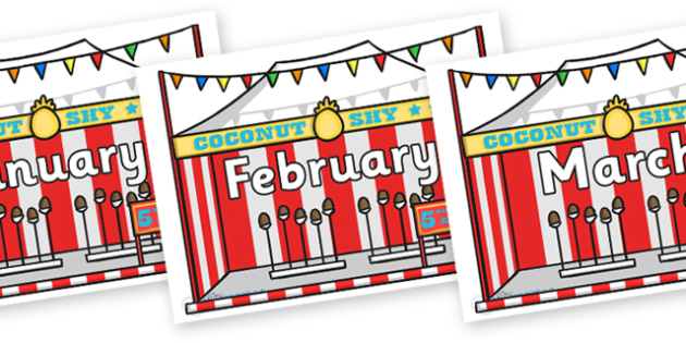 Months of the Year on Fairground Coconut Stands - Months of the Year, Months poster, Months display, display, poster, frieze, Months, month, January, February, March, April, May, June, July, August, September
