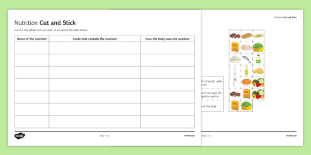 Nutrition Cut and Stick Activity Sheet, worksheet