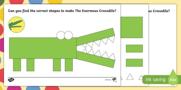 Crocodile Shape Activity Sheet Pack to Support Teaching on The Enormous Crocodile - The Enormous Crocodile, Roald Dahl, worksheet