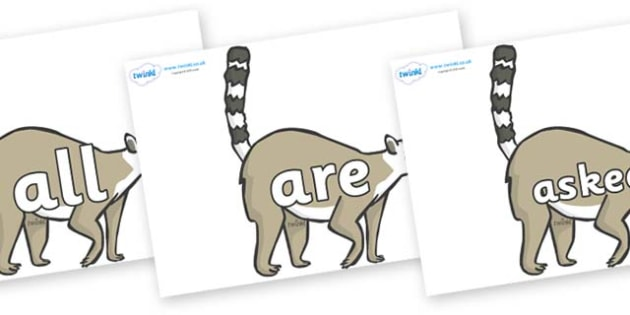 Tricky Words on Lemurs - Tricky words, DfES Letters and Sounds, Letters and sounds, display, words