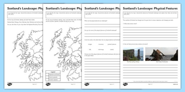 Scotland's Landscape Physical Features Worksheets - scotlands, physical, features, worksheets