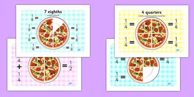 Pizza Fractions Polish Translation - polish, Fraction, numeracy, fractions, half, quarter, whole, three quarters, two halves, pizza, fraction