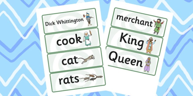 Dick Whittington Word Cards - keywords, themed, word cards