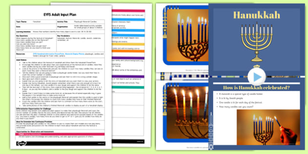 Playdough Menorah Candles EYFS Adult Input Plan and Resource Pack - adult led, plan