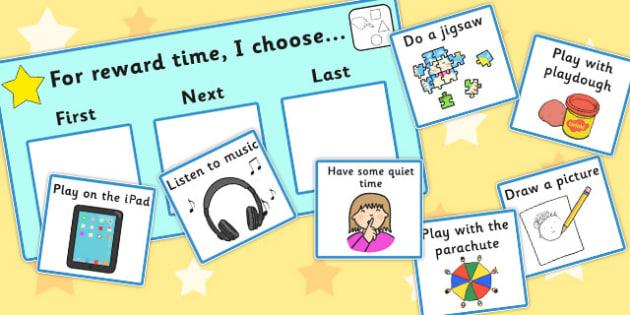 'For Reward Time I Choose...' Choice Board - reward, time, I choose, cards, order