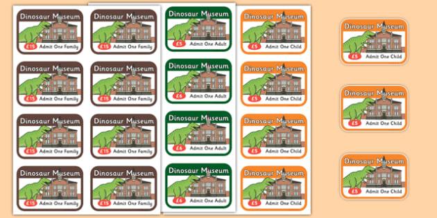 Dinosaur Museum Role Play Tickets - Dinosaur Museum Role Play Pack, museum, tickets,  dinosaurs, fossils, tyrannosaurus, triceratops, pterodactyl, role play, display, poster