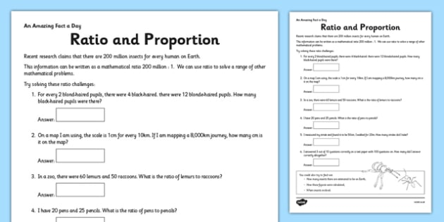 Ratio and Proportion Activity Sheet - ratio, proportion, challenge, fact of the day, activity, worksheet