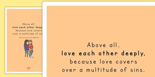 Above All, Love Each Other Deeply' Bible Scripture Motivational Poster