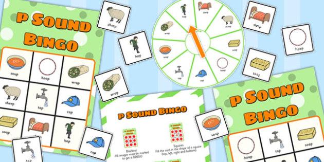 Final 'P' Sound Spinner Bingo - p sound, final, spinner, bingo
