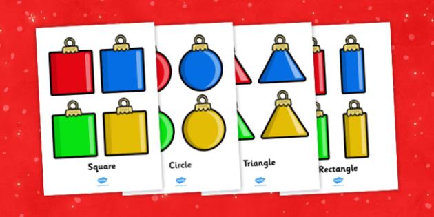 KS1 Christmas Geometry Baubles - ks1, christmas, geometry, baubles, maths
