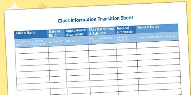 Class Information Transition Sheet - class, information, transition