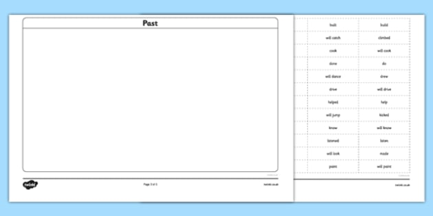 Simple Verbs: Past, Present and Future Sorting Activity - sorting
