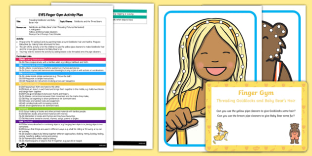 EYFS Threading Goldilocks' and Baby Bear's Hair Finger Gym Plan and Resource Pack