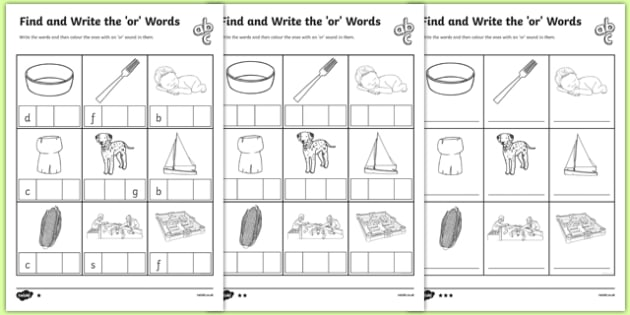 Find and Write the or Words Differentiated Activity Sheet Pack, worksheet