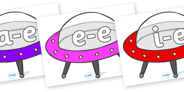 Modifying E Letters on Spaceships - Modifying E, letters, modify, Phase 5, Phase five, alternative spellings for phonemes, DfES letters and Sounds