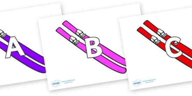 A-Z Alphabet on Skis - A-Z, A4, display, Alphabet frieze, Display letters, Letter posters, A-Z letters, Alphabet flashcards