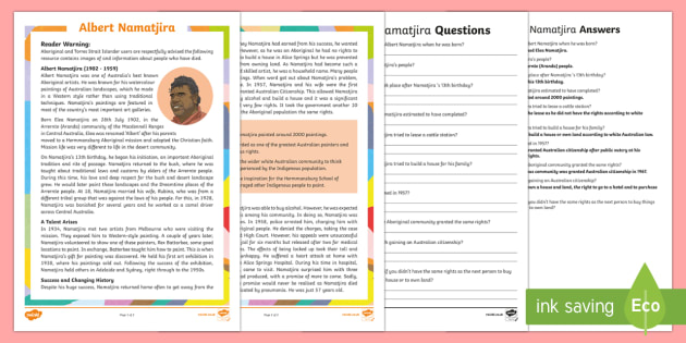 Influential Aboriginal and Torres Strait Islander People - Albert Namatjira Differentiated Reading Comprehension Activity-Australia - Famous Indigenous Australians, Albert Namatjira, Australians, Aboriginal, Aborigines, Indigenous, Fa