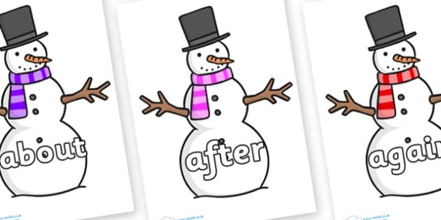 KS1 Keywords on Snowman - KS1, CLL, Communication language and literacy, Display, Key words, high frequency words, foundation stage literacy, DfES Letters and Sounds, Letters and Sounds, spelling