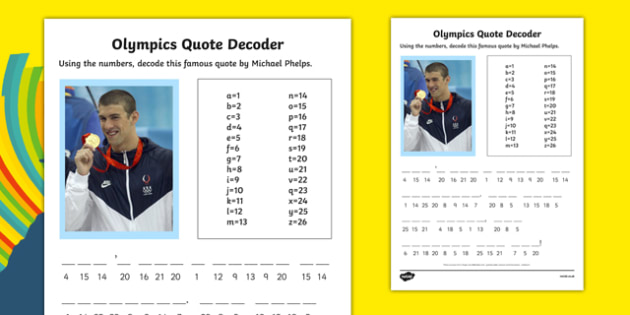 Olympic Quote Decoder Activity Sheet, worksheet