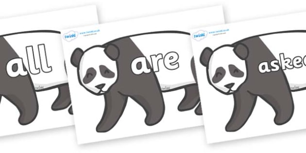 Tricky Words on Pandas - Tricky words, DfES Letters and Sounds, Letters and sounds, display, words