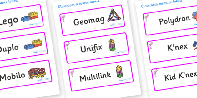 Flamingo Themed Editable Construction Area Resource Labels - Themed Construction resource labels, Label template, Resource Label, Name Labels, Editable Labels, Drawer Labels, KS1 Labels, Foundation Labels, Foundation Stage Labels