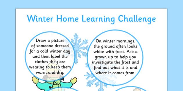 EYFS Winter Home Learning Challenge Sheet Reception FS2 - eyfs, winter, home learning, challenge, sheet, reception