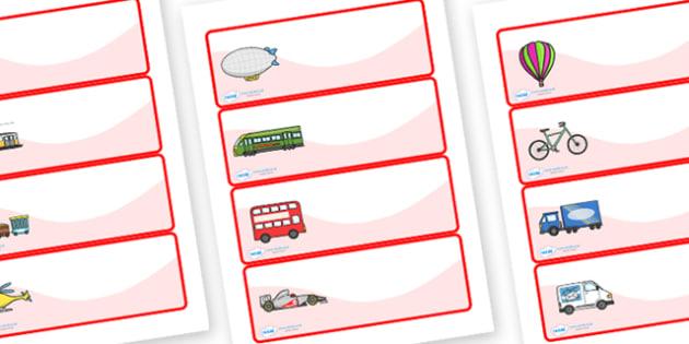 Editable Drawer - Peg - Name Labels (Transport) - Transport themed Label Templates, transport, Resource Labels, Name Labels, Editable Labels, Drawer Labels, Coat Peg Labels, Peg Label, KS1 Labels, Foundation Labels, Foundation Stage Labels, Teaching