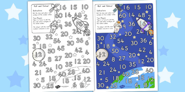 Space Themed Multiplication Roll and Colour One Dice - australia