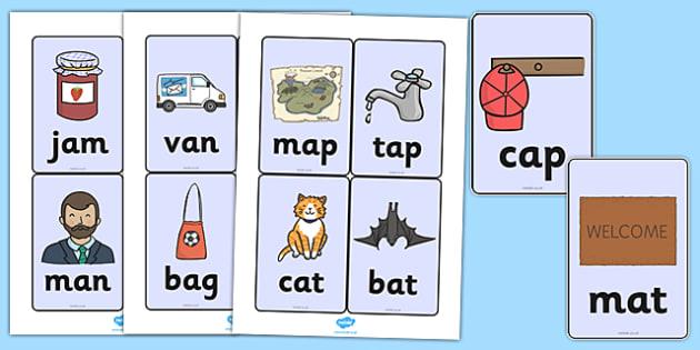 CVC Word Cards (a) - CVC, CVC word, three phoneme words, three sound words, consonant vowel consonant, words, three letter words, letters and sounds, DfES letters and sounds