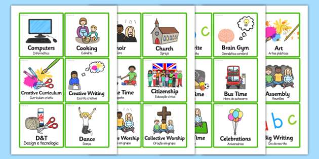 KS2 Visual Timetable Portuguese/English
