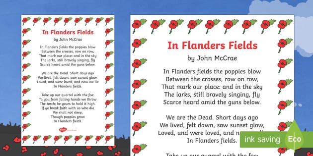 Remembrance Day Poem Sheet In Flanders Fields (A4) - Remembrance Day, poetry, poem, In Flanders Fields, A4, John McCrae, 11th November