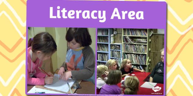 Literacy Area Photo Sign - literacy, area, photo, sign, display
