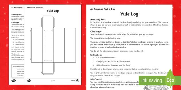 Amazing Fact a Day KS2 Day 13 Yule Log Box Activity Sheet - Amazing Fact Of The Day, activity sheets, powerpoint, starter, morning activity, December, Christmas