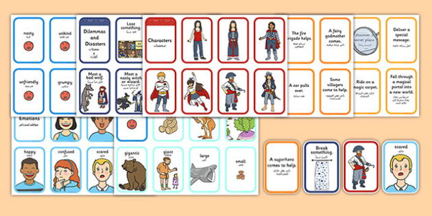 Story Writing Prompt Cards Pack Arabic Translation - arabic, story writing, prompts, activity, pack, creative writing, story planning, plot planner, plot, cards, ks1, ks2, adventure, stories, fiction, narrative, storytelling, oral, sequence, plan, wr