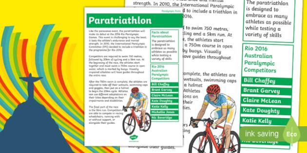 Australia Rio Paralympics 2016 Paratriathlon Display Poster