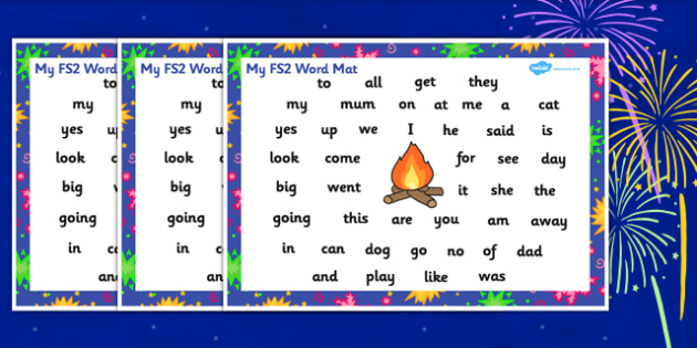 Bonfire Night Firework Themed FS2 Word Mat - bonfire night, firework, FS2, foundation stage 2, sounds, sound mat, letters and sounds, phonics, phonemes