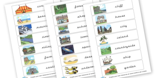 Settings flash cards - KS2 Settings, Story Writing, English, Literacy, KS2 English