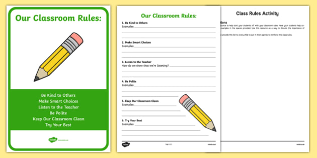 Class Rules Activity Sheet and Display Pack, worksheet