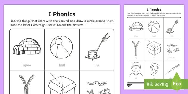 i Phonics Activity Sheet