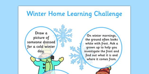 EYFS Winter Home Learning Challenge Sheet Nursery FS1 - eyfs, winter, home learning, challenge, sheet, nursery