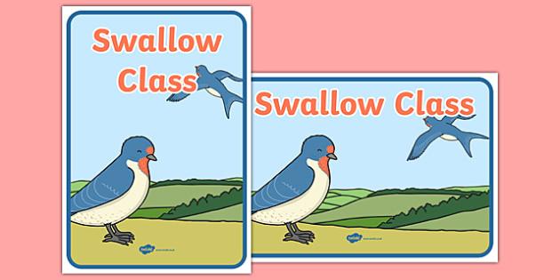 Swallow Class Display Posters - class, set-up, room name, birds, swallow, animals, ks1, ks2, display,