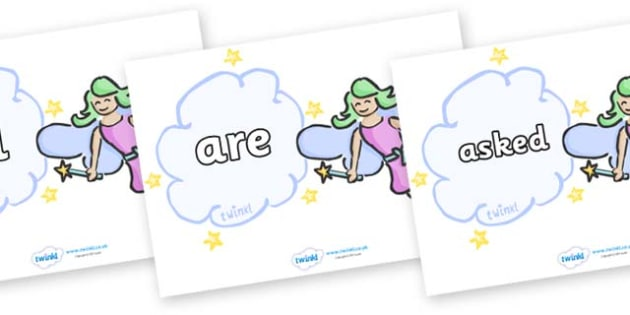 Tricky Words on Fairies - Tricky words, DfES Letters and Sounds, Letters and sounds, display, words