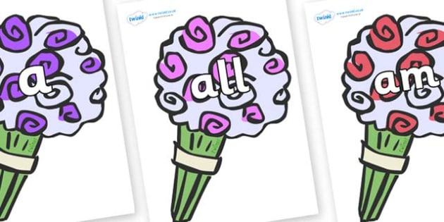 Foundation Stage 2 Keywords on Bouquets - FS2, CLL, keywords, Communication language and literacy,  Display, Key words, high frequency words, foundation stage literacy, DfES Letters and Sounds, Letters and Sounds, spelling
