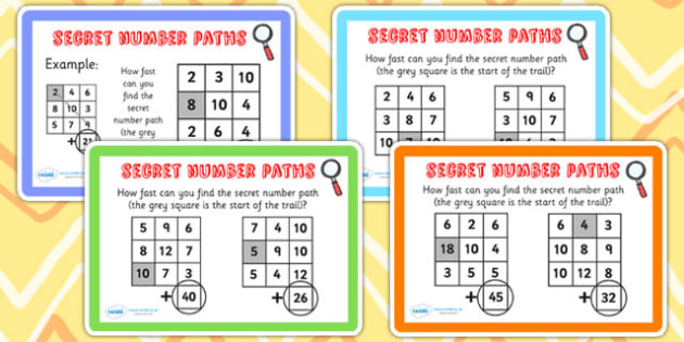 Spot the Secret Addition Number Paths Maths Challenge Cards